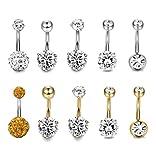 Thunaraz 10pcs 14G Stainless Steel Belly Button Rings for Women Crystal CZ Ball Screw Navel Bars White/Gold