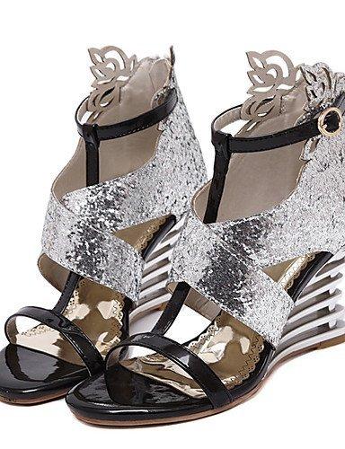 Soir Femmes À Shangyi Chaussures Argent Et Ouvert Talon Partie Robe Bout Compensé Or Synthétique Or Sandales CpxP5wdqYx