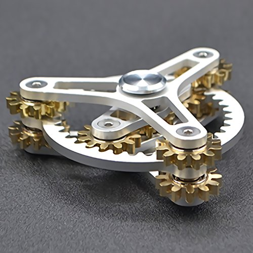 Pure Brass Fidget Spinner Gears Linkage Fidget Gyro Toy Metal DIY Hand Spinner Spins Long Time EDC Focus Meditation Break Bad Habits ADHD With Multiple Premium Bearings (13 Bearings Black)