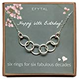 EFYTAL Happy 60th Birthday Gifts Women Necklace, Sterling Silver 6 Rings six Decades Necklaces Gift Ideas