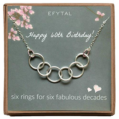 EFYTAL Happy 60th Birthday Gifts For Women Necklace Sterling Silver 6 Rings Six Decades Necklaces Gift Ideas