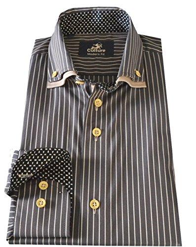 Culture Designerhemd langarm inDunkelbraun mit beigefarbenen Streifen