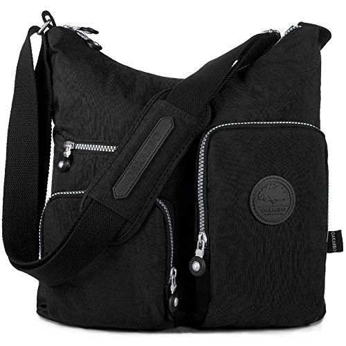 Oakarbo Crossbody Bag Nylon Multi-Pocket Travel Shoulder Bag (1204 Black, Large)