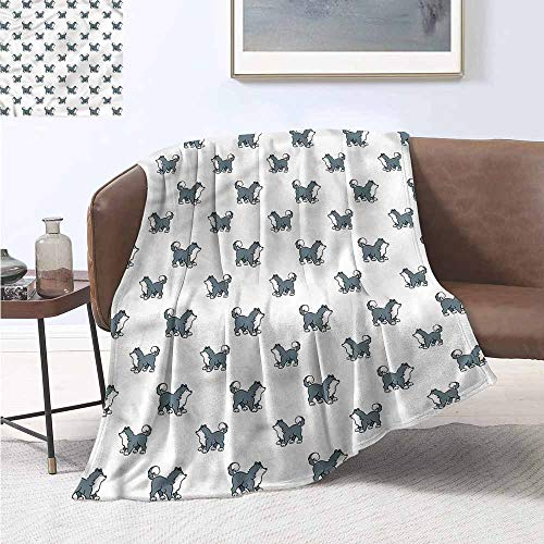 Homrkey Living Room/Bedroom Warm Blanket Dog Siberian Husky Puppy All Season Blanket W54 xL84 Traveling,Hiking,Camping,Full Queen,TV,Cabin
