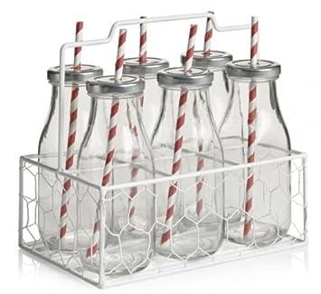 Estilo Vintage 6 vidrio Mini botellas de leche, tapas y pajitas, llevar Caja