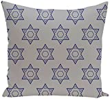 E by design PHGN318GY1BL20-26 Holy Stars, Decorative Holiday Geometric Print Pillow, Light Gray