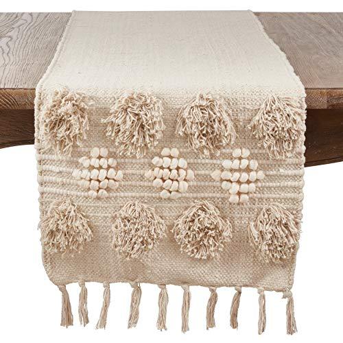 "SARO LIFESTYLE 3201.I1672B Handira Collection Pom Moroccan Cotton Runner, 16"" x 72"" Ivory"