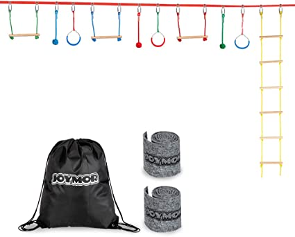 JOYMOR Upgraded Ninja Obstacle Course for Kids, 59 Feet Slack Line with Climbing Ladder, 3 Gymnastics Rings, 3 Monkey Bars, 3 Knots, 2 Tree ...