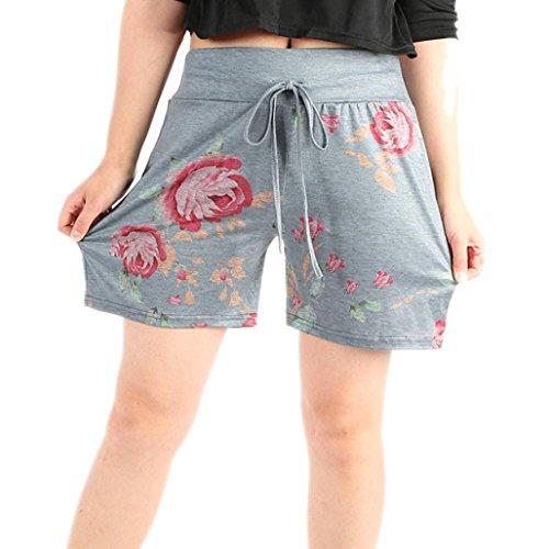 Realdo Women's Drawstring Shorts,Ladies Casual Floral Prints Pants (Grey,X-L)