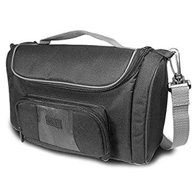 USA GEAR Projector Travel Carrying Case Bag with Customizable Dividers , Accessory Pockets & Shoulder Strap -Works With Ezapor , Optoma , Taotaole and Many More Small Travel Projectors