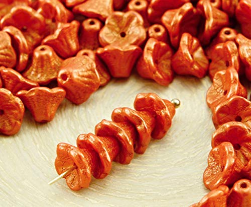 40pcs Gold Shine Orange Matte Pearl Halloween Small Bell Flower Caps Czech Glass Beads 5mm x 7mm