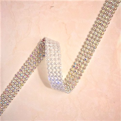 Ribbon Reel (Silver Crystal AB Mesh With Silver Setting 4 Rows (3mm Crystal AB) Ribbon Iron-On Crystal Diamante Reel)