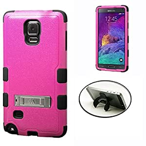 [STOP&ACCESSORIZE] PINK BLACK DUAL LAYER RIB KICKSTAND COVER RUBBER PLASTIC MOBILE PHONE CASE for SAMSUNG GALAXY NOTE 4 + FREE U KICKSTAND