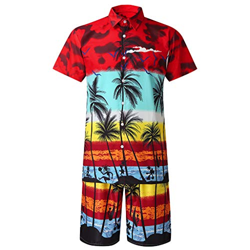 Alluing Hawaiian Shirts Shorts Set for Men' Casual Button Hawaii Beach Pants Short Sleeve Quick Dry Suit Red