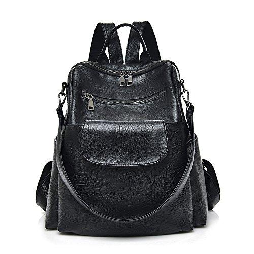 leather bag shoulder Brown��PU�� waterproof Black��PU�� bookbag Women backpack purse rucksack travel washed pu brown best fashion designer PqIgU