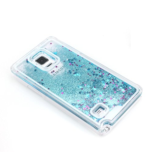 AENMIL Protective Case for Note 4, Samsung Note 4 Bling Cover, Transparent Plastic 3D Glitter Quicksand and Star Liquid Case for Samsung Galaxy Note 4(Blue)