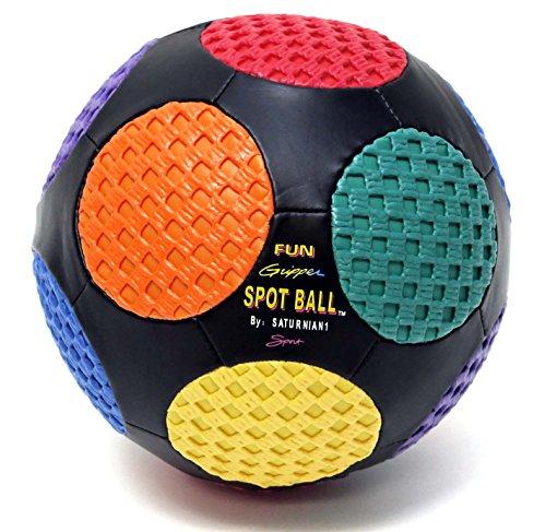 Fun Gripper Football (Fun Gripper 8.5 Retro Spot Soccer Ball (Black) w/assorted colors spots (Size 4) By: Saturnian I P.E. Supplier)