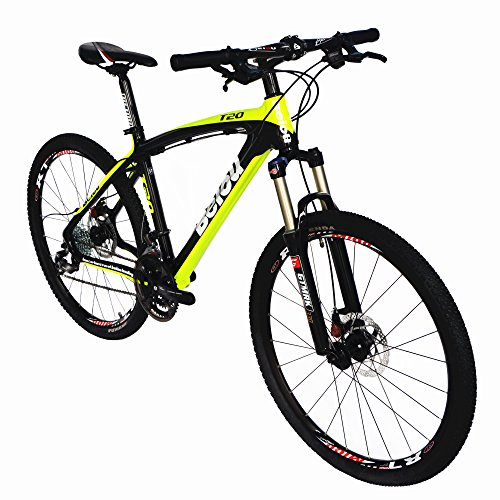 Best price for BEIOU Toray T700 Carbon Fiber Mountain Bike Complete Bicycle MTB 27 Speed 26-Inch Wheel SHIMANO 370 CB004 (Yellow, 19-Inch)