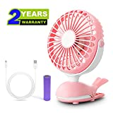 Clip Fan Battery Operated Portable Stroller Fans Cute Whale Design Rechargeable USB Personal Silent Desk Fans Adjustable Tilt Whisper Quiet Operation for Treadmill Dorm Bed Tent Camp Pink
