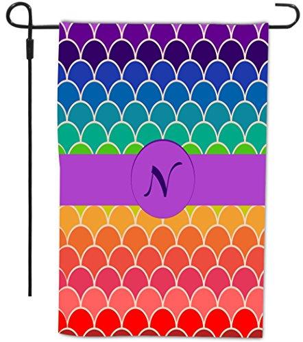 Rikki Knight Letter N Monogram Initial on Rainbow Scallop...
