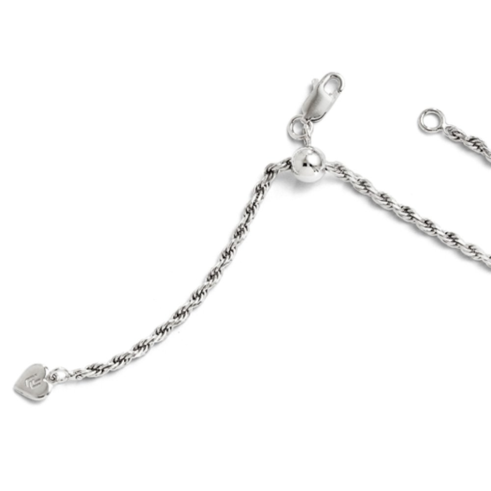 2.25mm Sterling Silver Adjustable Solid Diamond Cut Rope Chain Necklace, 22in