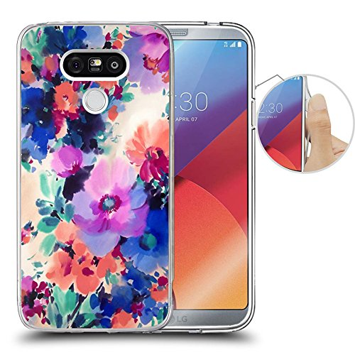 LG G6 Case Ink painting style-Hundred Flowers blossom, LAACO Scratch Resistant TPU Gel Rubber Soft Skin Silicone Protective Case Cover for LG G6 Silicon Rubber Cover