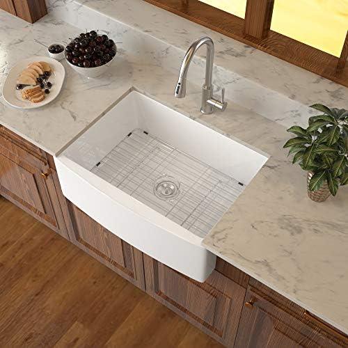 Framhouse Sink White Logmey 24 inch Farmhouse Sink Apron-front Reversible White Fireclay Ceramic Single Bowl Kitchen Farm Sink Basin