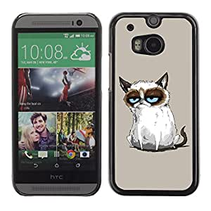 Qstar Arte & diseño plástico duro Fundas Cover Cubre Hard Case Cover para HTC One M8 ( Siamese Cat Drawing Angry Blue Eyes Moody)