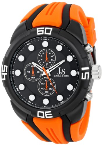 Joshua & Sons Men's JS61OR Black Multifunction Quartz Watch with Black Dial and Orange Silicone Strap