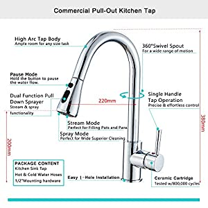 Heable Kitchen Sink Mixer Tap with Pull Down Sprayer Chrome, Single Handle High Arc Pull Out Kitchen Taps, Single Level Solid Brass Kitchen Faucet with UK Standard Fittings