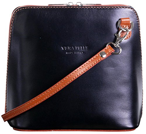 Italian Leather, Black and Tan Small/Micro Cross Body Bag or Shoulder Bag Handbag. Includes Branded a Protective Storage ()