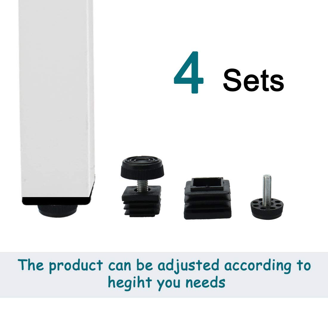 uxcell Leveling Feet 25 x 25mm Square Tube Inserts Kit Furniture Glide Adjustable Leveler for Table Sofa Leg 4 Sets