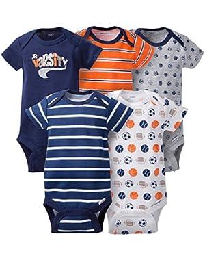 Gerber Baby Boys' 5pk Sports Bodysuits (Onesies) - Varsity Jr