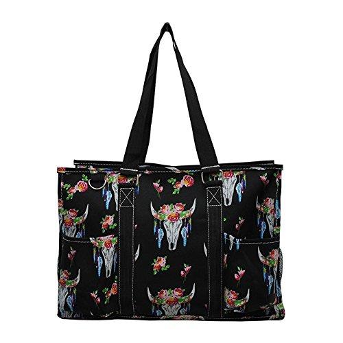 (NGIL All Purpose Organizer Medium Utility Tote Bag 2018 Spring Collection (Bull Skull Black))