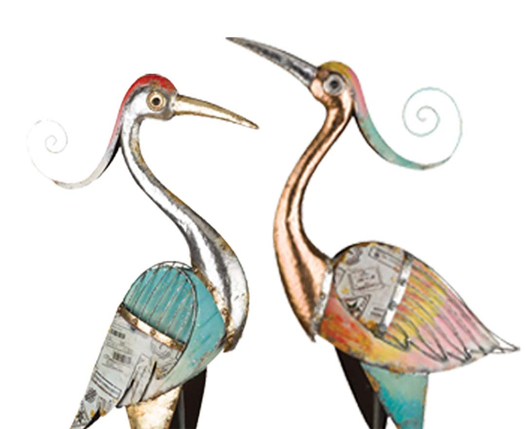 Wonders Shop Outdoor/Indoor Accent Metal Crane 40'' - 41'' Patina Figurine Statues Bird 2pcs
