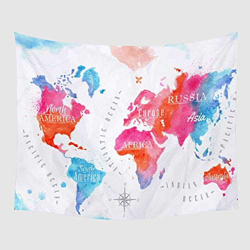 ARIGHTEX Modern Pink Blue Map Fleece Throw Blanket Watercolor Hand Painted Sherpa Blanket for Sofa Chair Bed Office Travelling Camping(50