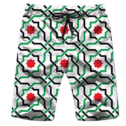 (X-Large Geometric Arabic UAE Men's Swim Trunks and Workout Shorts Swimsuit or Athletic Shorts - Adults Boys S)