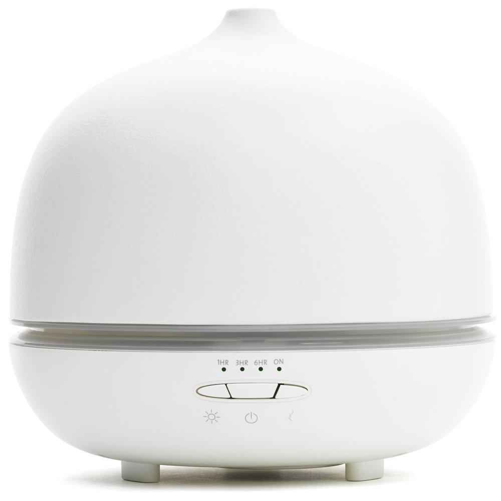 Saje aromaOm® Deluxe Essential Oil Diffuser, Ultrasonic Aromatherapy Diffuser, Ceramic (11 - 22 Hr Run Time) (White)