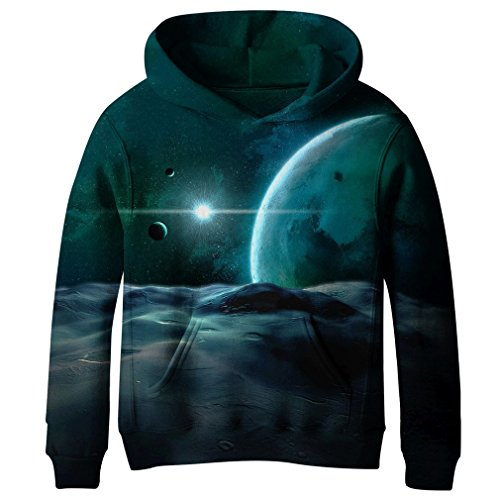 (SAYM Teen Boys' Galaxy Fleece Sweatshirts Pocket Pullover Hoodies 4-16Y NO24 L)