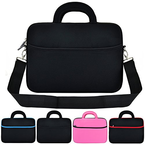 KOZMICC 13 Inch Neoprene Laptop Sleeve with Handle Strap Shoulder Bag for Chromebook, Laptop and Ultrabook - Black (Laptop Bag With Handle)