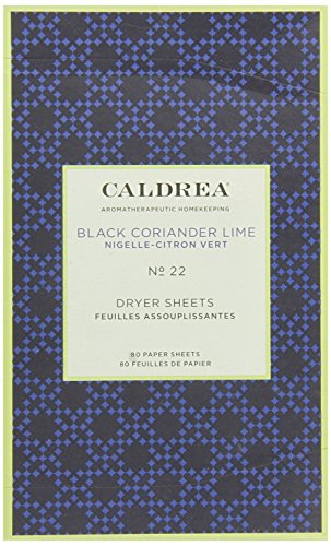 Caldrea Dryer Sheets, Black Coriander Lime, 80 Count
