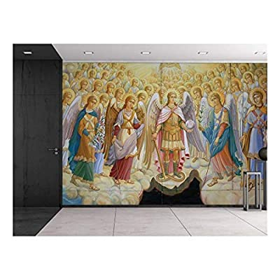 Fresco from Saint Michael's Cathedral in Kiev, Ukraine - Religious Christian Wall Art - Herald Angels Catholic - Wall Mural, Removable Sticker, Home Decor - 66x96 inches