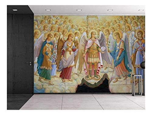 (wall26 Fresco from Saint Michael's Cathedral in Kiev, Ukraine - Religious Christian Wall Art - Herald Angels Catholic - Wall Mural, Removable Sticker, Home Decor - 66x96)