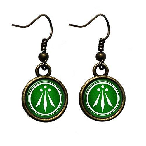Celtic Symbol - The Awen - Three Rays of Light - White on Green Antique Bronze Earrings