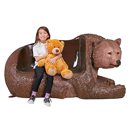 Design Toscano Brawny Grizzly Bear Bench Sculpture, Brown