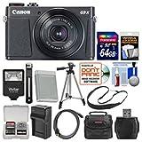 Canon PowerShot G9 X Mark II Wi-Fi Digital Camera (Black) with 64GB Card + Case + Flash + Battery & Charger + Tripod + Strap + Kit