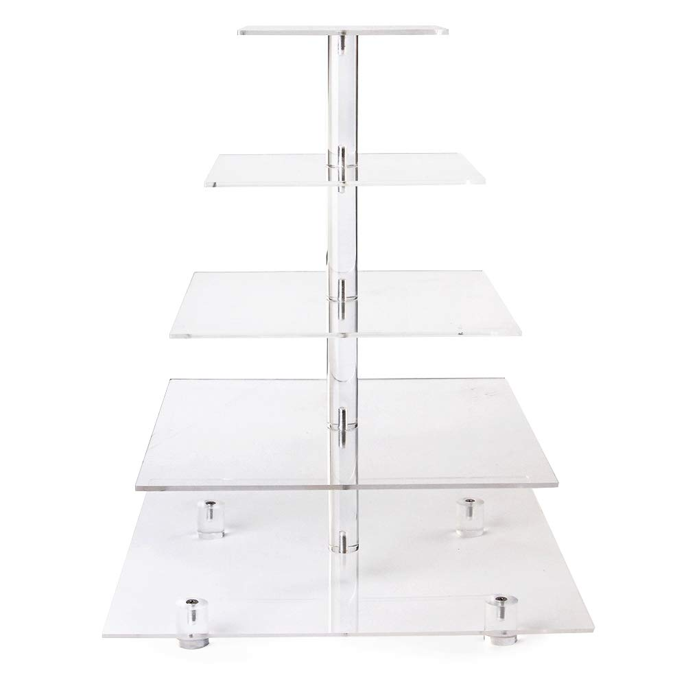 LoveDisplay 5 Tiers Acrylic Square Wedding Cupcake Stand Tower/Cake Stand/Dessert Stand/Food Display Stand (With base) by LoveDisplay