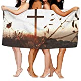 HUBCDB Christian Cross Bath Towels Lightweight High Absorbency, Multipurpose, Quick Drying For Hotel Spa Pool Gym Bathroom