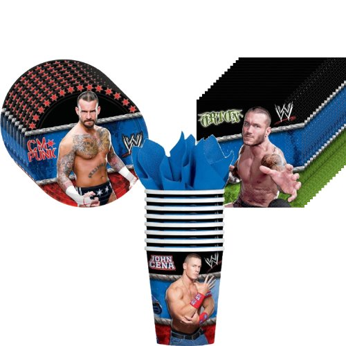WWE Wrestling Party Supplies Pack Including Plates, Cups and Napkins - 8 Guests