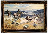 Historic Art Gallery Loops & Swift Horses Are Surer Than Lead by Charles Marion Russell Framed Canvas Print - Gold & Black Gallery - 19x32